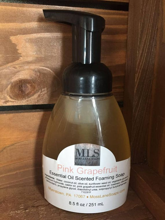 Pink Grapefruit Essential Oil Scented Natural Liquid Foaming Soap, 8.5 fl oz Bottle with Foamer Top