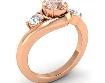 Natural Round Morganite Rose Gold | Three Stone Morganite Engagement Ring Wiith Real SI Diamond 14K Gold | AAA Morganite | Women's Ring