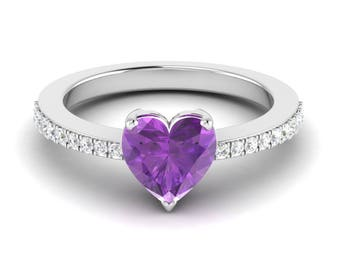 Purple Amethyst Ring, Heart Shape Ring, Amethyst Engagement Ring, 14K White Gold, Propose Ring, Promise Ring, Wedding Ring, Anniversary Ring