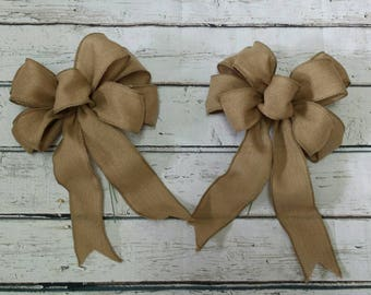 Set of 2 Burlap Pew Bow, Rustic Wedding, Country, Chair Bow, Rustic Decor, Burlap Aisle Decoration
