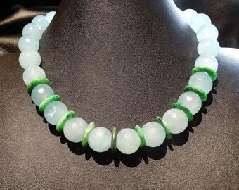 Blue Jade Choker Necklace, Green Jade Spacers,  OOAK Vintage Estate