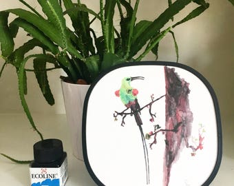 Art-print: Exotic bird in tree