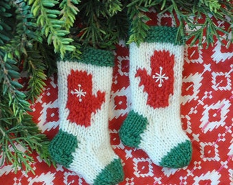 Red Mittens with Snowflakes Hand-Knit Christmas Stocking Ornaments    Set of 2