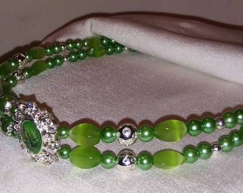 Unusual, Lime and Silver Beaded Browband for Horse Bridle. Elegant & Ornamental. Bling English or Dressage Browband Or Western Headstall