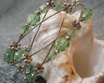 Light Green Woven Memory Wire Faceted Bead Wide Cuff Bracelet