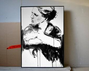 Modern Extralarge Original Painting - Minimal Black-and-White-ART - XXL Artwork - Loftstyle - Female Portrait - Acrylic Painting - Portrait