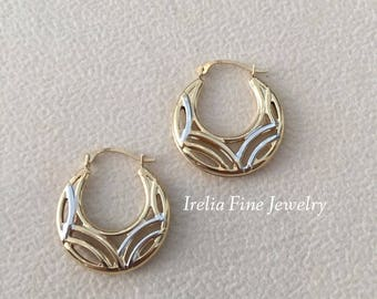 14K Yellow Gold & Rhodium Two Tone Pierced Design Hoop Earrings  --Ready to Ship--