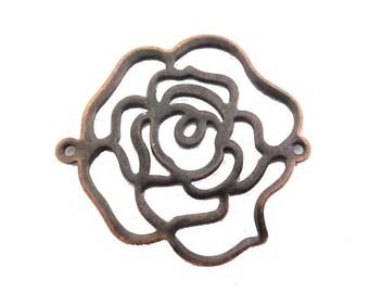 1 x Rose flower metal 32mm filigree connector copper ANTIQUE