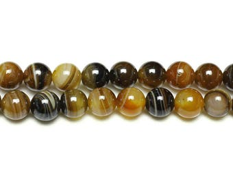 Natural Agate beads with 8mm x 10 Tan