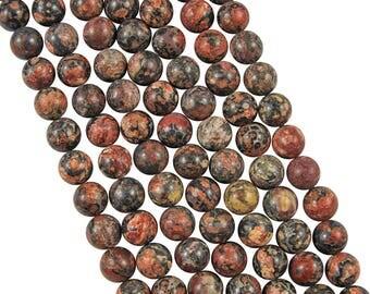 10 x 10mm Leopardskin Jasper round beads