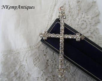 Vintage diamante cross pendant