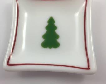 Christmas Tree Fused Glass Dish