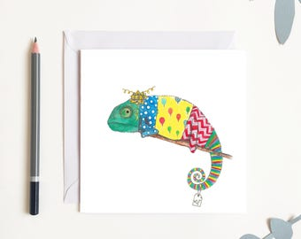 Chameleon Congratulations Celebrations Birthday Card