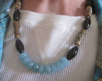 Aquamarne, Onyx, & Painted Wood Necklace, Boho Jewelry, Onyx Jewelry