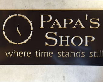 Personalized Metal Sign with  clock and where time stands still