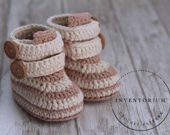 Caleb Boots CROCHET PATTERN baby booties, PDF pattern only