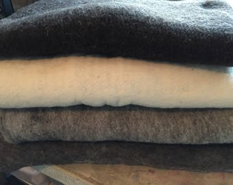 Small Rambouillet Prefelt Batts in 4 colors:  approx. 21X18 inches
