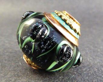 Lampwork Big Hole Beads - Black and Green Sparkly Dichro Petals - Handmade Art Glass Bead - Copper Core - Brass & Copper Caps - OOAK SRA