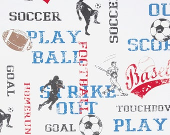 Sports Fabric by the BOLT Upholstery Home Decor baseball football soccer boys room Premier Prints American Blue Red 30 yards!