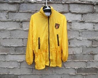 Vintage Jacket Windbreaker Iridescent Yellow 1990s Fresh Prince Track Bruno Mars Style Everyday Casual Small Oversized