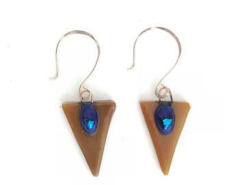 Tribal Triangle Earrings, Glass Triangle Earrings, Tribal Dangle Earrings, Handcrafted