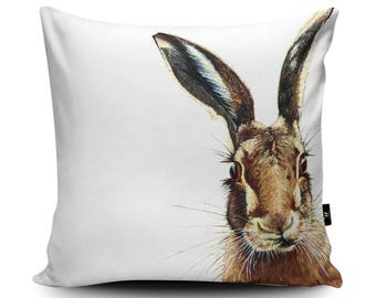 Hare Cushion, Hare Pillow, Rabbit Cushion, Rabbit Pillow, Hare Watercolor, Vegan handmade cushion cover, Hare illustration Artwork by Olivia
