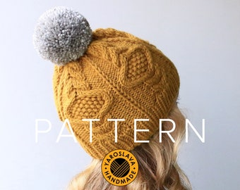 PATTERN LISTING - Jasmine Hat - Slouchy Beanie / Toque / Twist / Faux Fur / Cable Knit / PDF Knit Hat Pattern / Knitting Instructions
