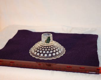 """Hob nail glass taper candle holder with opalescent accents, partial paper label with """"moons"""" for moonstone, Anchor Hocking"""