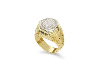 14k two tone solid gold white and black diamond men's ring. signet ring