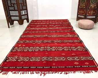 Vintage Moroccan red kilim 5.5ft x 10.9ft Middle Atlas Berber Flatwoven Kelim Berber Handmade Woven Atlas Wool Authentic Kilim Teppich Tapis