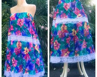 Vintage Plus Size Floral & Lace Skirt