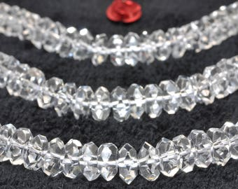 130 pcs of A A Grade-- Natural White Rock Crystal faceted rondelle beads in 3x6mm (07083#)