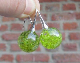 moss jewerly, resin jewelry, silver earrings, real moss earrings, moss jewerly, resin earrings, resin sphere earrings, silver ball earrings