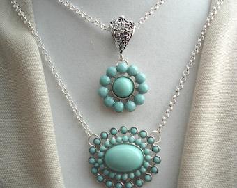 Blue Pendants, Layered Pendants, Turquoise Daisies, Blue Rosettes, Blue Daisies, Blue Cabochons, Silver Chain, Accessories