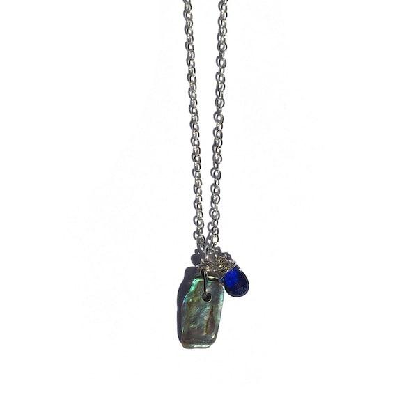 raw abalone & kashmir blue kyanite necklace - adjustable