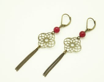 Earrings with prints and red agate