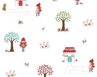 Little Red Riding Hood By Tasha Noel FLANNEL for Riley Blake Main White FLANNEL