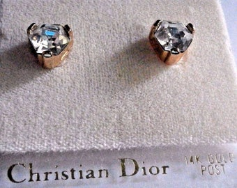 Signed Christian Dior 14 kt gold Post Earrings Gold Plated with Clear Crystal New