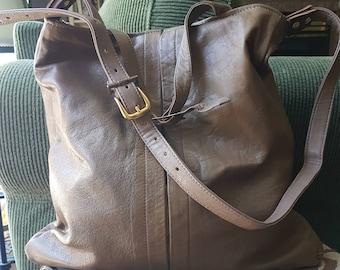Long and Lean Crossbody Bag, OOAK Tan Leather Beauty