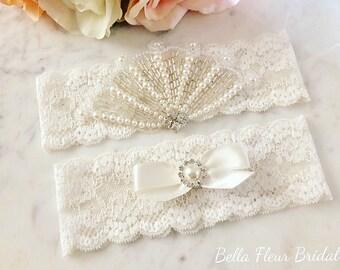 Pearl Garter, Ivory Wedding Garter, Rhinestone Bridal Garter, Vintage Garter, Lace Garter Set, Wedding Accessories, Lingerie Garter