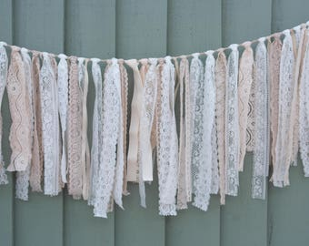 Beautiful handmade boho Inspired Lace And Ribbon Garland In Shades Of Off White Cream And Peach Perfect Wedding Garland Decoration