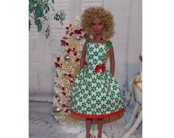 """Stocking Stuffers Collection.  Christmas Holly.  Christmas dress for 11.5"""" & 12"""" Fashion Dolls.  Fashion Doll Clothes"""