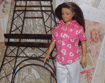 Handmade Lammily Clothes. Pink Shirt & White Capri Shorts. Lammily Doll Clothes that are made in the USA. Will not fit Barbie sized dolls.