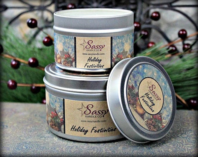 HOLIDAY FESTIVITIES | Candle Tin (4 or 8 oz) | Sassy Kandle Co.