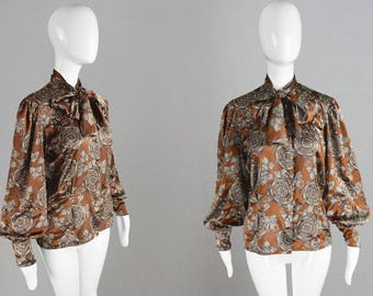 Vintage 70s Pussybow Blouse Brown Satin Blouse Womens Shirt Balloon Sleeve Shirt Pussycat Bow Top Secretary Blouse Smart Work Blouse Party