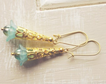 Earrings, dusty blue lucite flower dangle earrings
