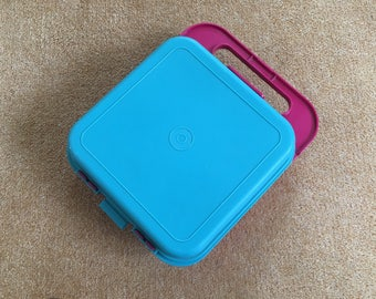 Vintage 1980s Pink and Green Tupperware Lunchbox