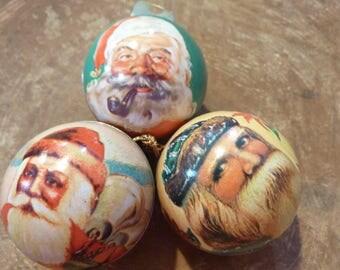 3 Vintage Santa Tin Ball Christmas Candy Container Ornaments Tree Decor Lot Shackman (#605)