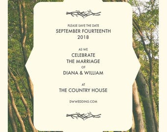 Rustic Barn Outdoor Trees Wedding Save The Date