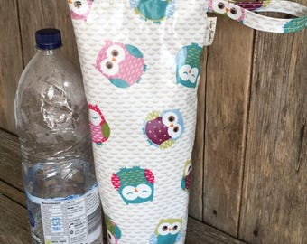 Insulated water bottle bag,oilcloth bottle carrier,insulated 2ltr bottle bag,owls oilcloth